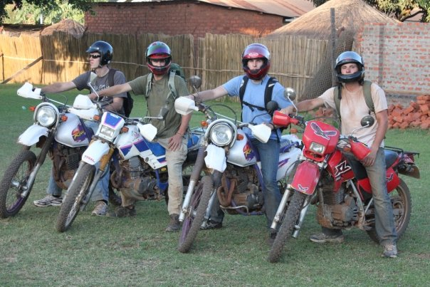 Riding motorcycles in Uganda