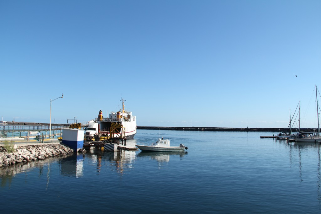 The small ferry in port at Santa Rosalia