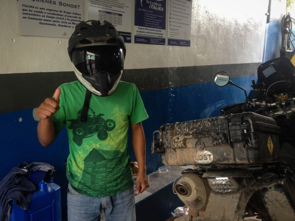One of the mechanics love my helmet so I let him try it on.