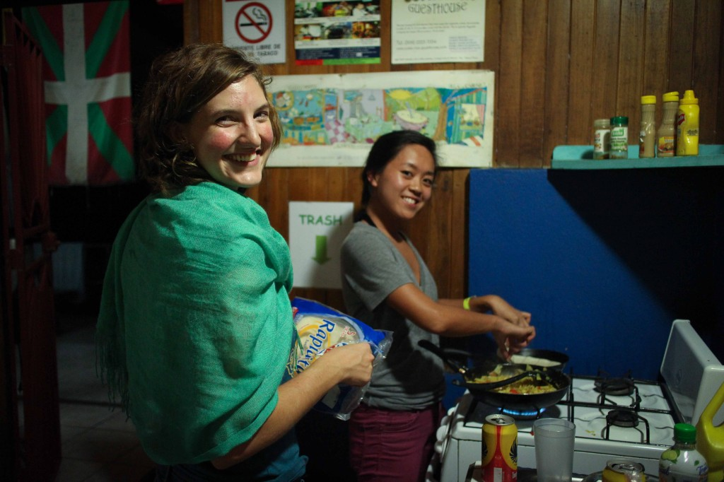 Kelly and Fawna cooking a delicious veggie dinner