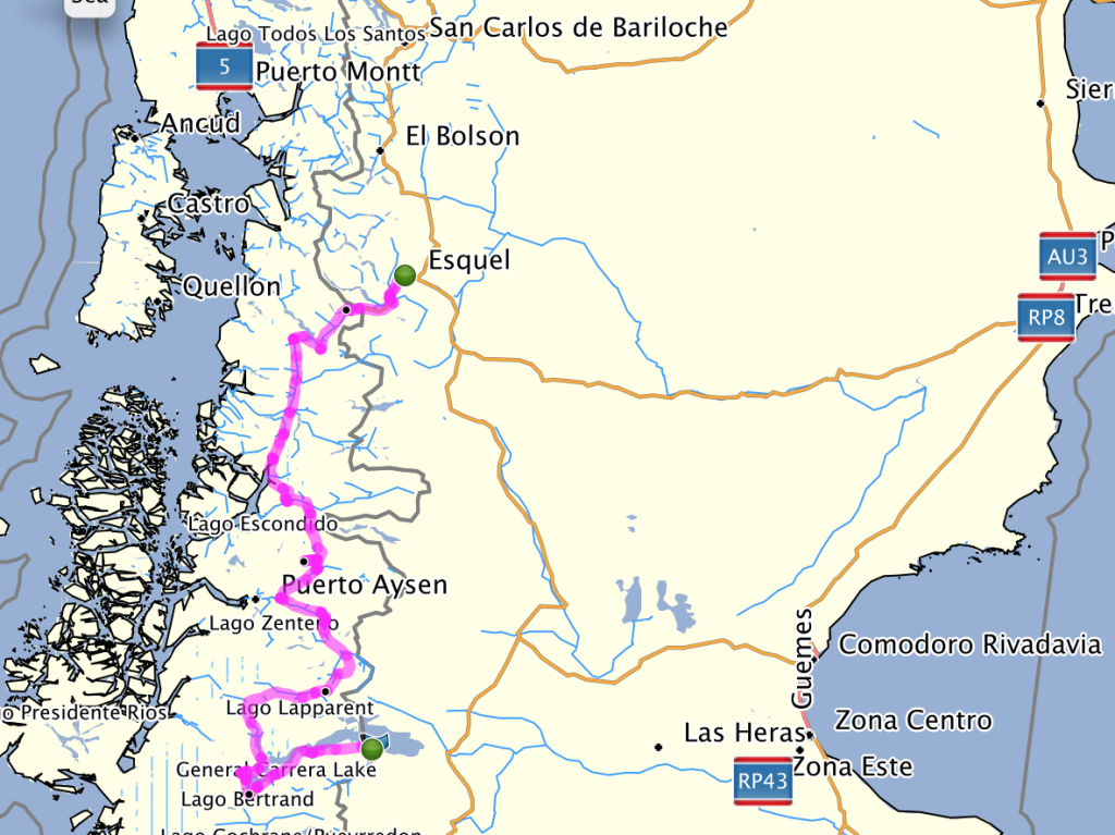 My route on the Carretera Austral. Beginning in Futalafu.